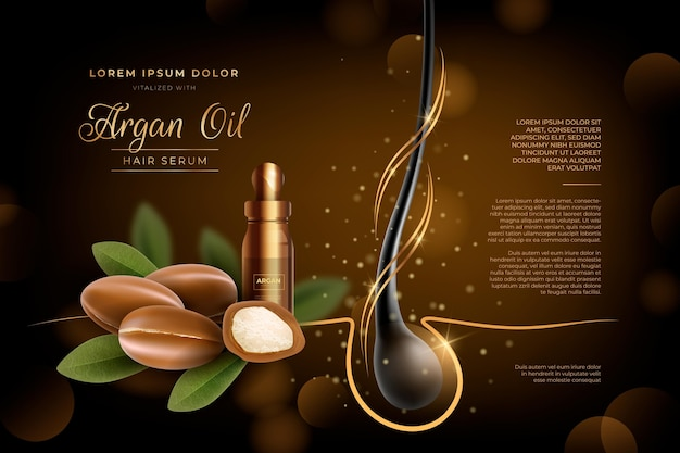 Realistic argan oil hair serum ad