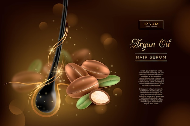 Realistic argan oil hair serum promo