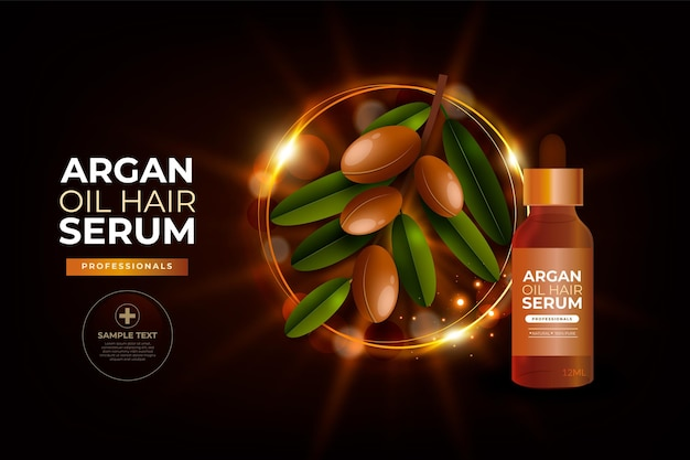 Realistic argan oil hair serum
