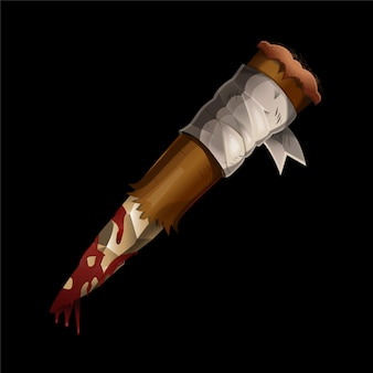 Realistic aspen stake wooden stick against vampires and dracula with blood on it.