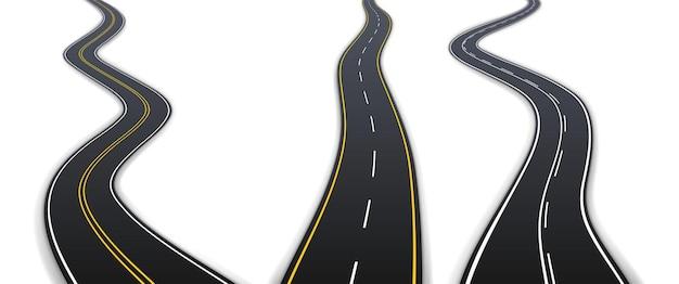 運転用の黄色と白のマーキングが施されたリアルなアスファルト高速道路。白い背景で隔離の車両経路セット。 3dベクトル図