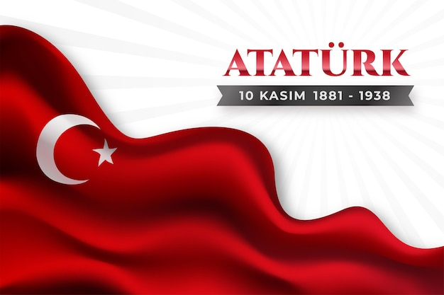 Realistic ataturk memorial day background with flag