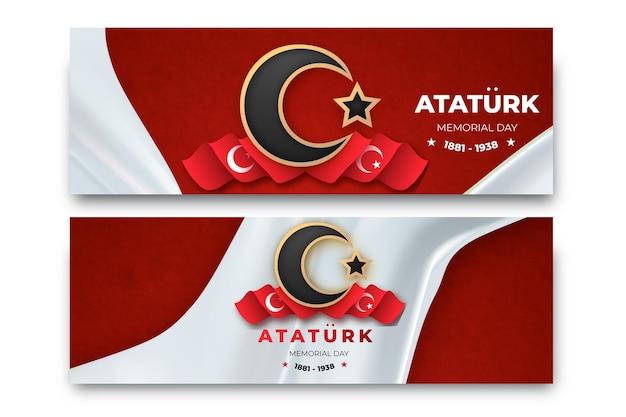 Realistic ataturk memorial day horizontal banners set