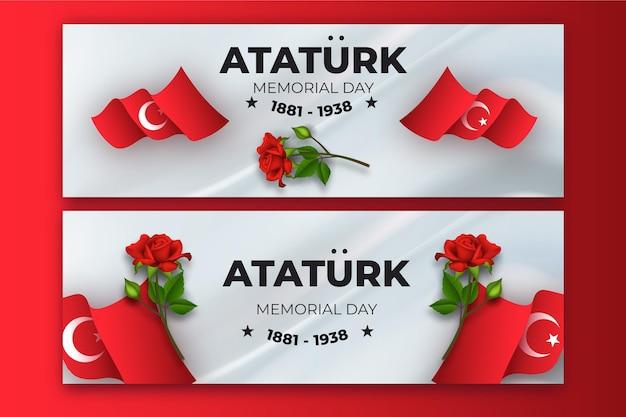 Set di banner orizzontali realistici per il giorno della memoria di ataturk