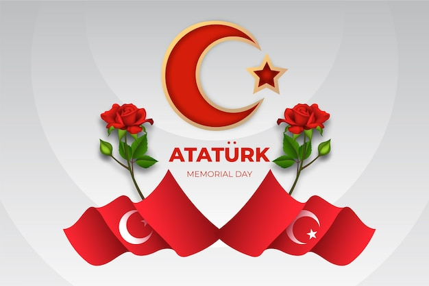 Illustrazione realistica del giorno della memoria di ataturk