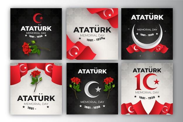 Raccolta realistica di post di instagram per il giorno della memoria di ataturk