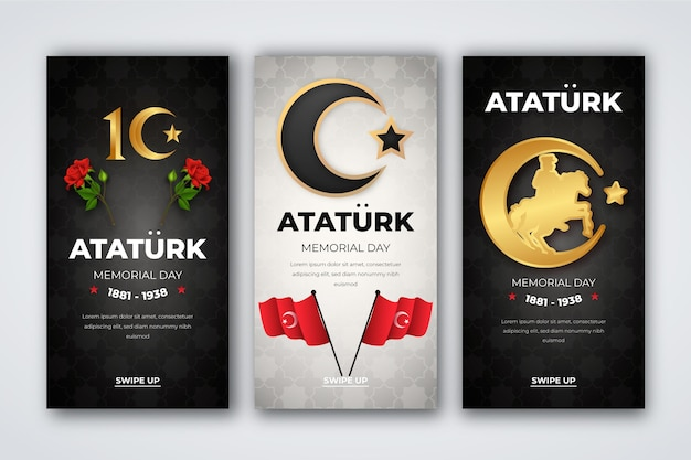 Realistic ataturk memorial day instagram stories collection