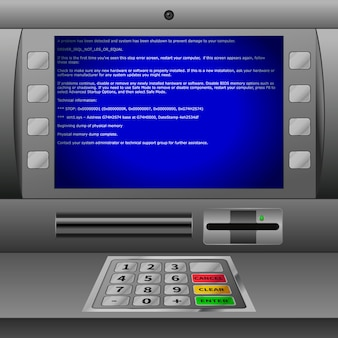 키패드와 디스플레이에 파란색 bsod 오류 메시지가있는 현실적인 atm 기계