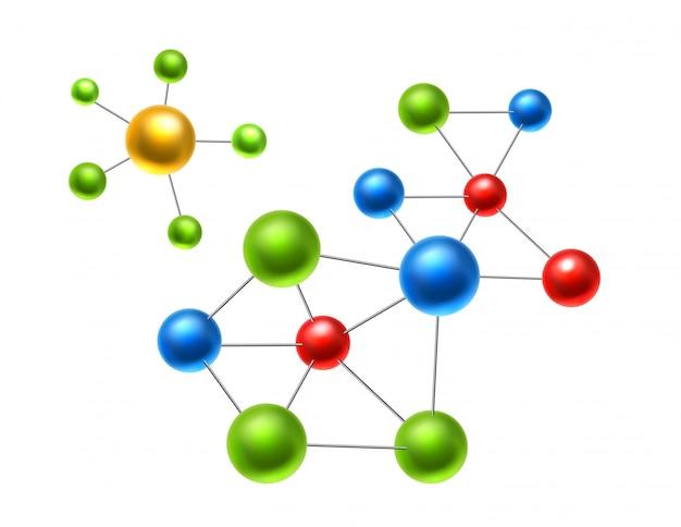 Реалистичная атомная молекула, атомы для химии и науки