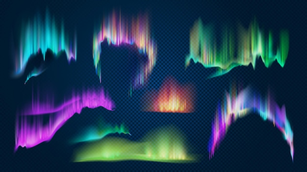 Realistic aurora borealis northern lights in night sky. polar glowing natural effect. shining antarctic colored 3d light waves vector set. illustration of northern aurora, polar light north