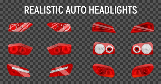 Realistic auto back stop headlights set with twelve isolated brake and marker lights on transparent background  illustration