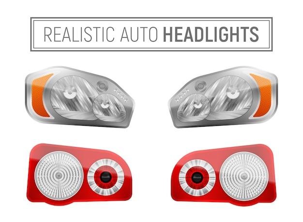 Realistic auto headlamps illustration