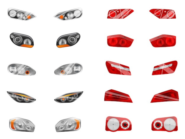 Realistic auto headlights set with twelve isolated images of different car front headlamps and brake lights  illustration