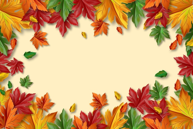 Realistic autumn background with empty space