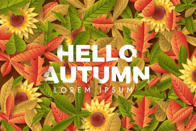 Realistic autumn background with greeting