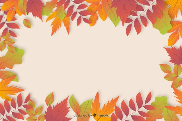 Realistic autumn background with leaves