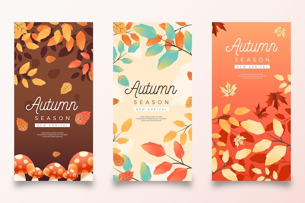 Realistic autumn banners set