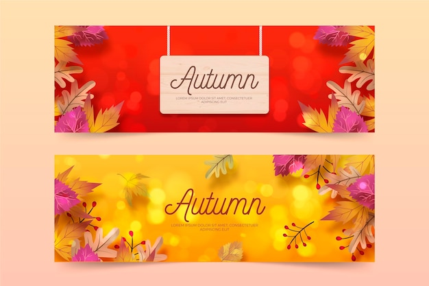 Realistic autumn banners template