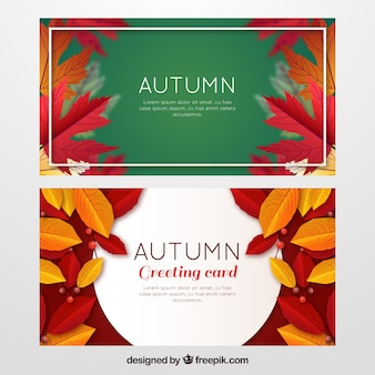 Realistic autumn banners