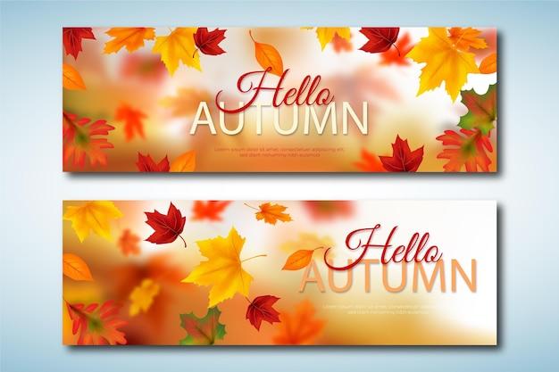 リアルな秋の横長バナーセット