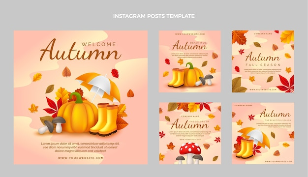 Realistic autumn instagram posts collection