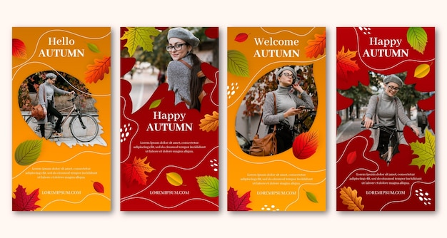 Realistic autumn instagram stories collection with photo