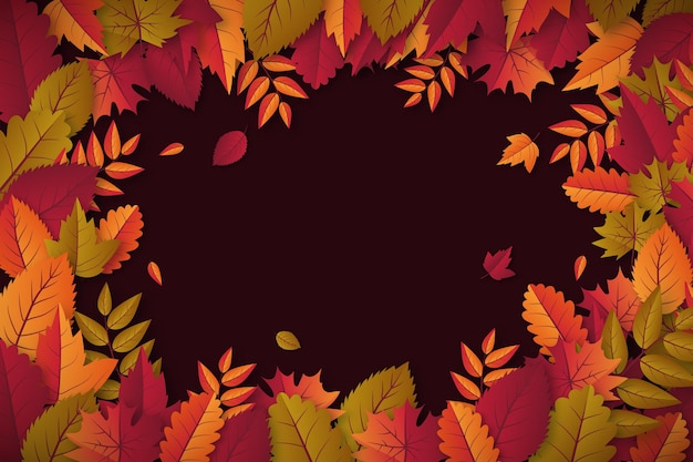 Realistic autumn leaves background