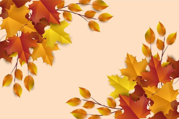 Реалистичные осенние листья фон