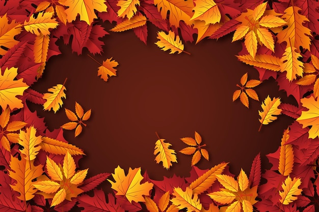 Realistic autumn leaves wallpaper