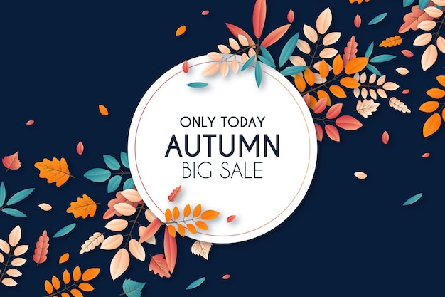 Realistic autumn sale background