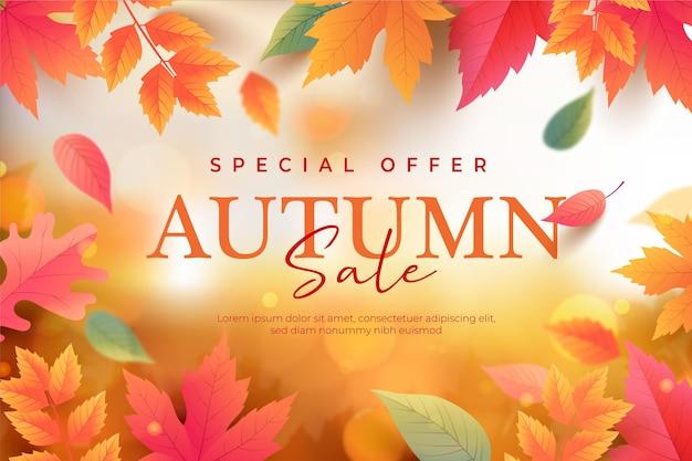 Realistic autumn sale background