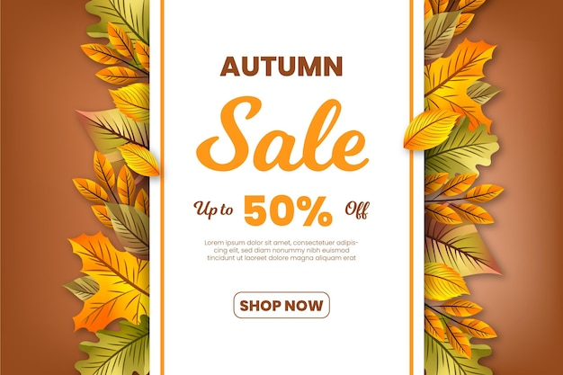 Realistic autumn sale banner