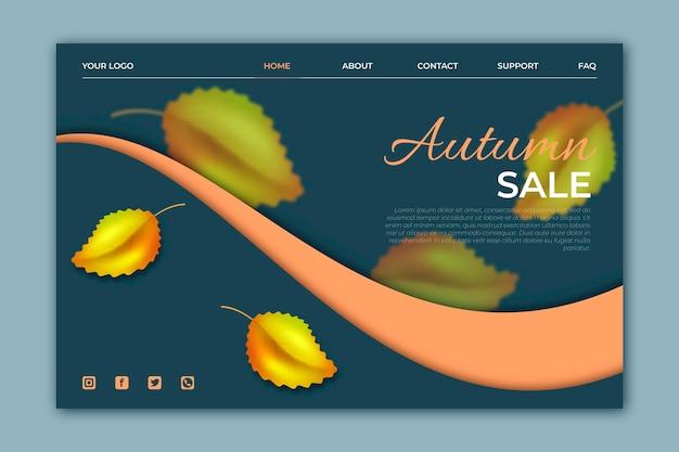 Modello di pagina di destinazione di vendita autunnale realistico