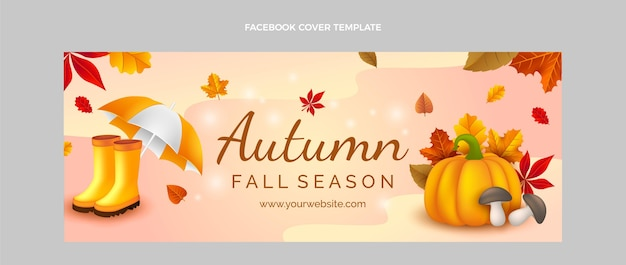Realistic autumn social media cover template