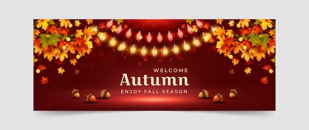 現実的な秋のソーシャルメディアカバーテンプレート