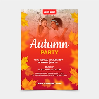 Realistic autumn vertical poster template with photo