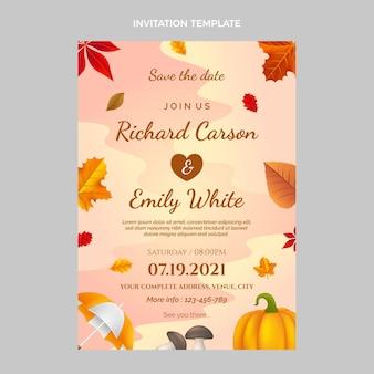現実的な秋の結婚式の招待状のテンプレート
