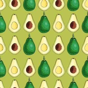 Реалистичные авокадо. бесшовный узор. летняя экзотическая еда. мультфильм целый, половина фруктов. рисованной иллюстрации. природные органические овощи. эскиз на фоне оливкового цвета.