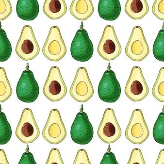 Реалистичные авокадо. бесшовный узор. летняя экзотическая еда. мультфильм целый, половина фруктов. рисованной иллюстрации. природные органические овощи. эскиз на белом фоне.