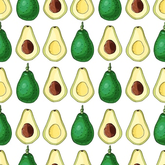 Realistic avocado.seamless pattern.summer exotic food.cartoon whole,half fruits.hand drawn  illustration.natural organic vegetable.sketch on white background.