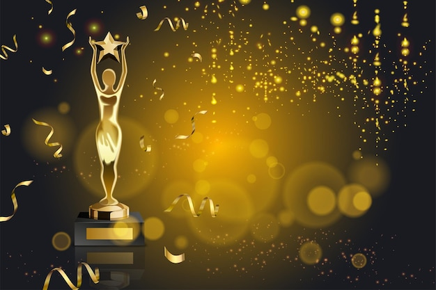 Realistic award with lights, golden confetti and trophy with figurine holding star illustration