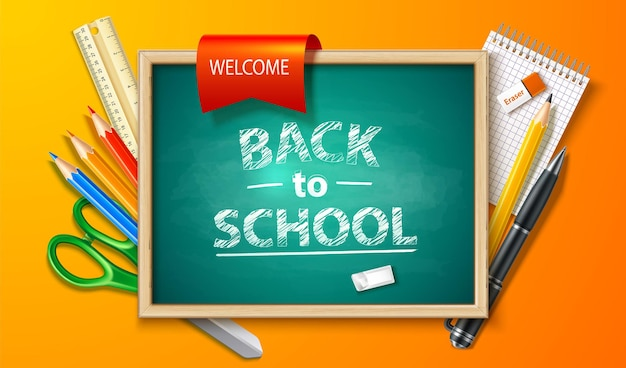 Realistic back to school background with chalkboard pen pencil ruler and stationery