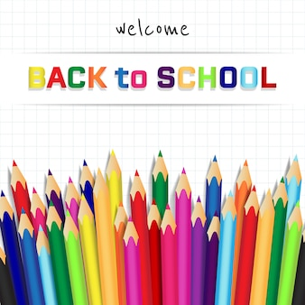 Realistic back to school background with pencils