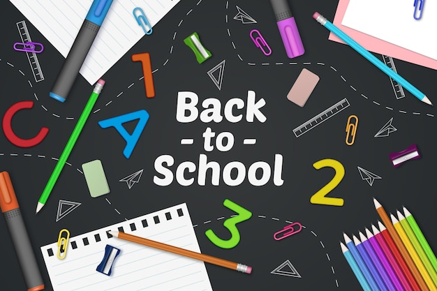 Realistic back to school background with stationery