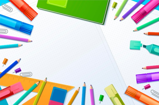 Realistic back to school background