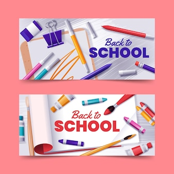 Realistic back to school banners collection