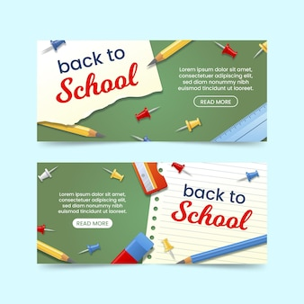 Realistic back to school banners set