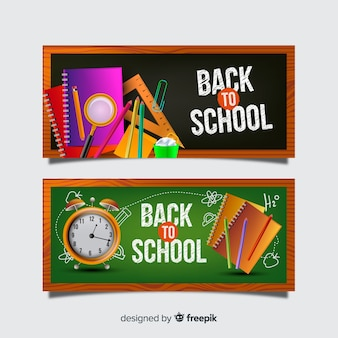 Realistic back to school banners