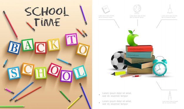 Realistic back to school composition with bitten apple books alarm clock colorful pencils soccer ball ruler cubes with letters