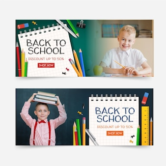 Realistic back to school horizontal banners set with photo